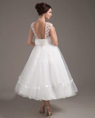 Elegant Short Wedding Dresses With Pointed A Line Organza Tea-length Wedding Dress Wedding Fashions_5