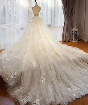 Designer a line wedding dresses with sleeves lace wedding gowns cheap online_2