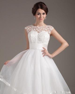 Elegant Short Wedding Dresses With Pointed A Line Organza Tea-length Wedding Dress Wedding Fashions_2