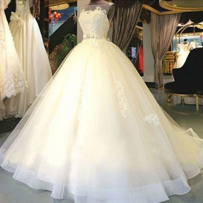 Exklusive Brautkleider Weiß Mit Spitze Prinzessin Organza Brautmoden Hochzeitskleider_2