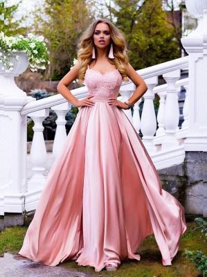 Elegante Rosa Abendkleider Lang Günstig Mit Spitze Etuikleider Abiballkleider_1