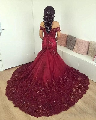 Wine Red Evening Dresses Lace Cheap Mermaid Evening Wear Prom Dresses_2