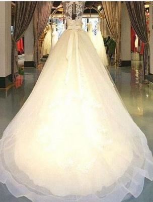 Exklusive Brautkleider Weiß Mit Spitze Prinzessin Organza Brautmoden Hochzeitskleider_4
