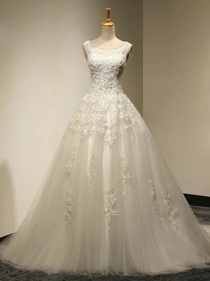 Elegante Weiße Spitze Hochzeitskleider A Line Brautkleider Günstig Online_1