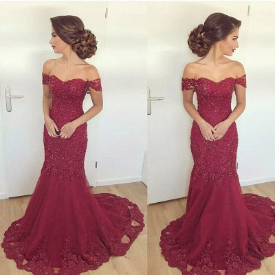 Cheap Evening Dresses Long Lace Wine Red Mermaid Evening Wear Prom Dresses_2