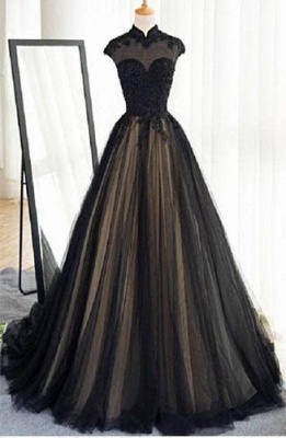 Elegant Evening Dresses Lace Cheap A Line Tulle Black Ball Gown Long_3