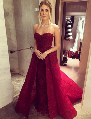 Wine red evening dresses lace long cheap a line prom dresses party dresses_2