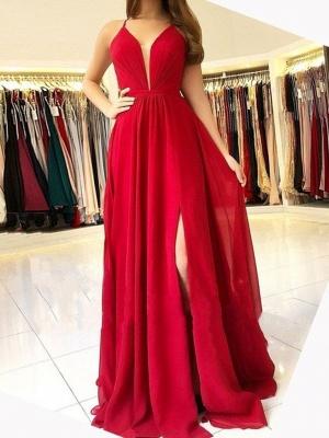 Designer Abendkleider Lang Rot | Festliche Kleidung Chiffon_1