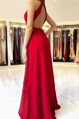 Designer Abendkleider Lang Rot | Festliche Kleidung Chiffon_2