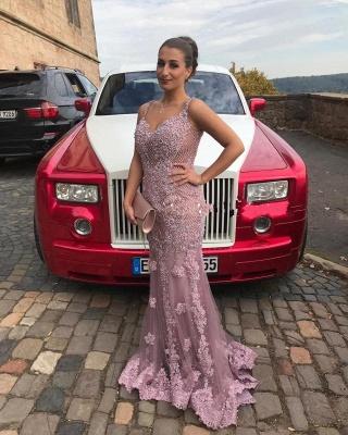 Luxury evening dresses long pink | Evening dress lace cheap_1