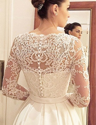 Designer A Line Wedding Dresses With Lace Sleeves Wedding Dresses Cheap_2