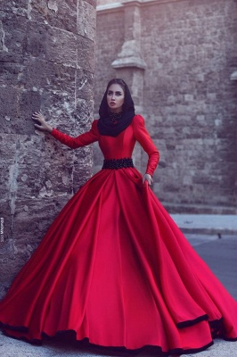 Red Wedding Dresses Long Sleeves A Line Satin Wedding Dresses Cheap_3
