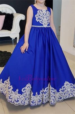 Blau Kinderkleider für Hhochzeit Günstige Blumenmädchenkleider