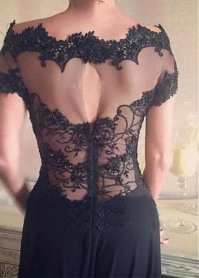Schlichtes Abendkleid Lang Schwarz Chiffon | Günstige Abendkleider Spitze Online_2