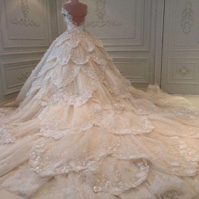 Luxury lace wedding dresses | A line wedding dress with sleeves_3