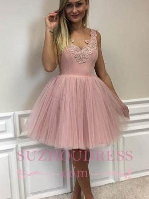 Pink Cocktail Dresses Short Straps A Line Evening Dresses Party Dresses_1