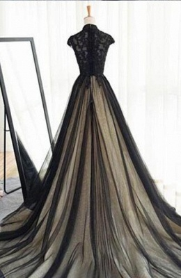 Elegant Evening Dresses Lace Cheap A Line Tulle Black Ball Gown Long_2
