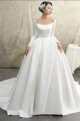 Simple wedding dresses A line | Bridal wear with sleeves_1