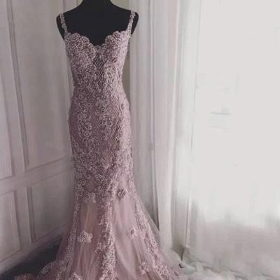 Luxury evening dresses long pink | Evening dress lace cheap_3