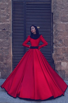 Red Wedding Dresses Long Sleeves A Line Satin Wedding Dresses Cheap_1