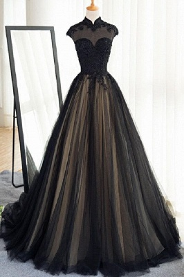 Elegant Evening Dresses Lace Cheap A Line Tulle Black Ball Gown Long_1