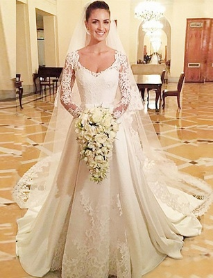 Designer A Line Wedding Dresses With Lace Sleeves Wedding Dresses Cheap_1