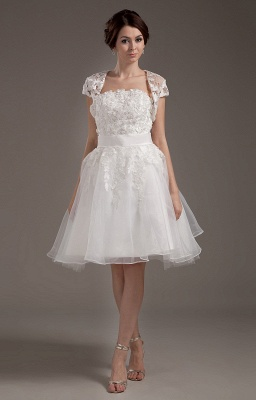 White Wedding Dresses With Jacket Lace A Line Wedding Dresses Bridal Fashion Cheap_1