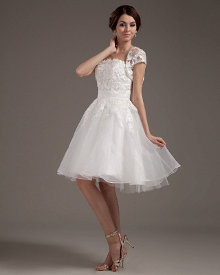 White Wedding Dresses With Jacket Lace A Line Wedding Dresses Bridal Fashion Cheap_4
