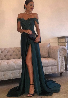 Turquoise Long Evening Dresses Lace Chiffon Off Shoulder Floor Length Evening Wear Prom Dresses_1