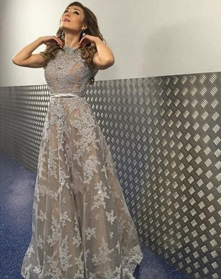 Gray Long Evening Dresses Lace A Line Floor Length Evening Wear Prom Dresses Cheap_2