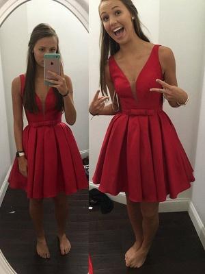 Red Prom Dresses Short Straps A Line Taffeta Evening Wear Prom Dresses_1