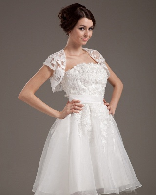 White Wedding Dresses With Jacket Lace A Line Wedding Dresses Bridal Fashion Cheap_2