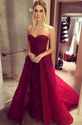 Wine red evening dresses lace long cheap a line prom dresses party dresses_1