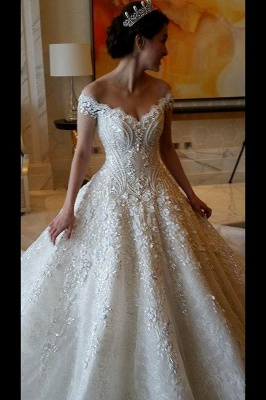 Luxury lace wedding dresses | A line wedding dress with sleeves_2