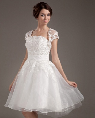 White Wedding Dresses With Jacket Lace A Line Wedding Dresses Bridal Fashion Cheap_3