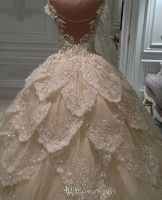 Luxury lace wedding dresses | A line wedding dress with sleeves_5