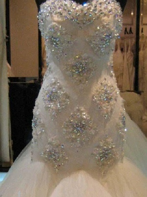 Luxury Wedding Dresses Lace Mermaid Tulle Bridal Gowns Cheap_3