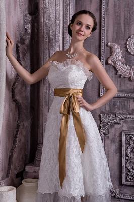 Brautkleider Kurz Weiß Spitze Mit Schleife Etuikleider Knielang Hochzeitsmoden_4