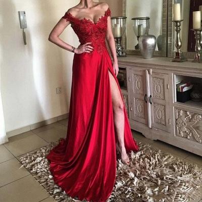 Sexy Abendkleider Lang Rot Spitze | Schicke Abendmode Günstig_2