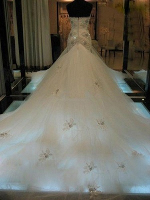 Luxury Wedding Dresses Lace Mermaid Tulle Bridal Gowns Cheap_2