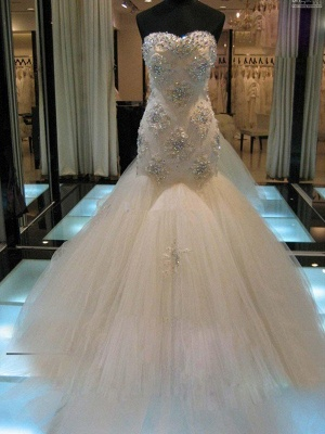 Luxury Wedding Dresses Lace Mermaid Tulle Bridal Gowns Cheap_1