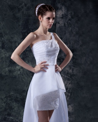 Elehante Weiß Brautkleider Kurz Mit Spitze Organza Hochzeitskleider Brautmoden_3