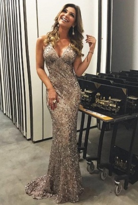 Luxury Evening Dresses Long Lace Sequins Evening Wear Prom Dresses_1