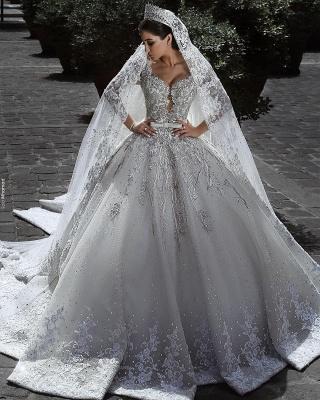 Luxus Brautkleid A Linie   Hochzeitkleider Spitze Mit Perlen_1
