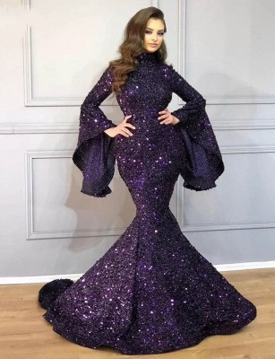 Luxury long glitter prom dresses | Evening dresses with sleeves_4