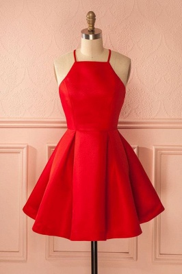 Cheap Cocktail Dresses Party Dresses Short Red A Line Satin Prom Dresses_2