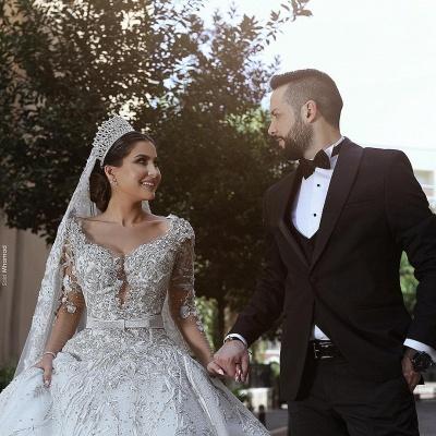 Luxus Brautkleid A Linie   Hochzeitkleider Spitze Mit Perlen_2