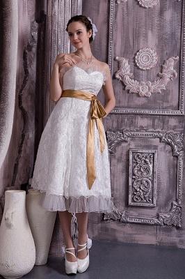 Brautkleider Kurz Weiß Spitze Mit Schleife Etuikleider Knielang Hochzeitsmoden_3