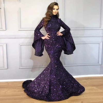 Luxury long glitter prom dresses | Evening dresses with sleeves_2