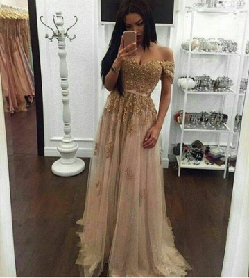 Golden long evening dresses with lace sheath dress tulle prom dresses cheap online_2